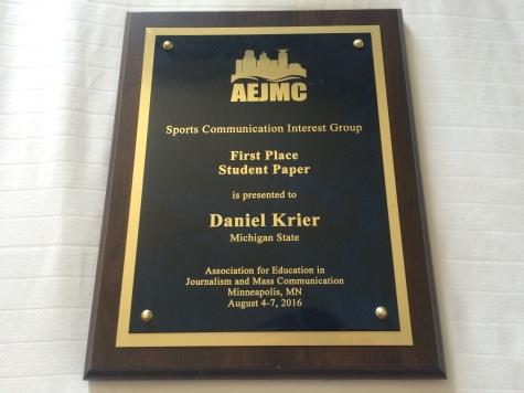 Daniel H. Krier - AEJMC Award - Aug 2016